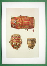 INDIAN DRUMS Nakkera  Tabla  Tam Tam - SUPERB Color Litho Print - $42.04