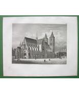 GERMANY Halberstadt Cathedral of St. Stephanus - 1857 Antique Print Engr... - $28.61