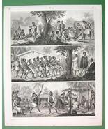 PACIFIC ISLANDS natives Caroline Mariane Islands New Zealand- 1844 Antiq... - $15.15