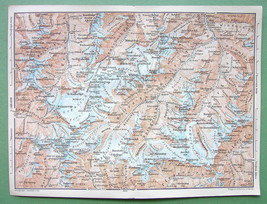 1896 MAP ORIGINAL Baedeker - AUSTRIA Alps Peaks... - $5.89