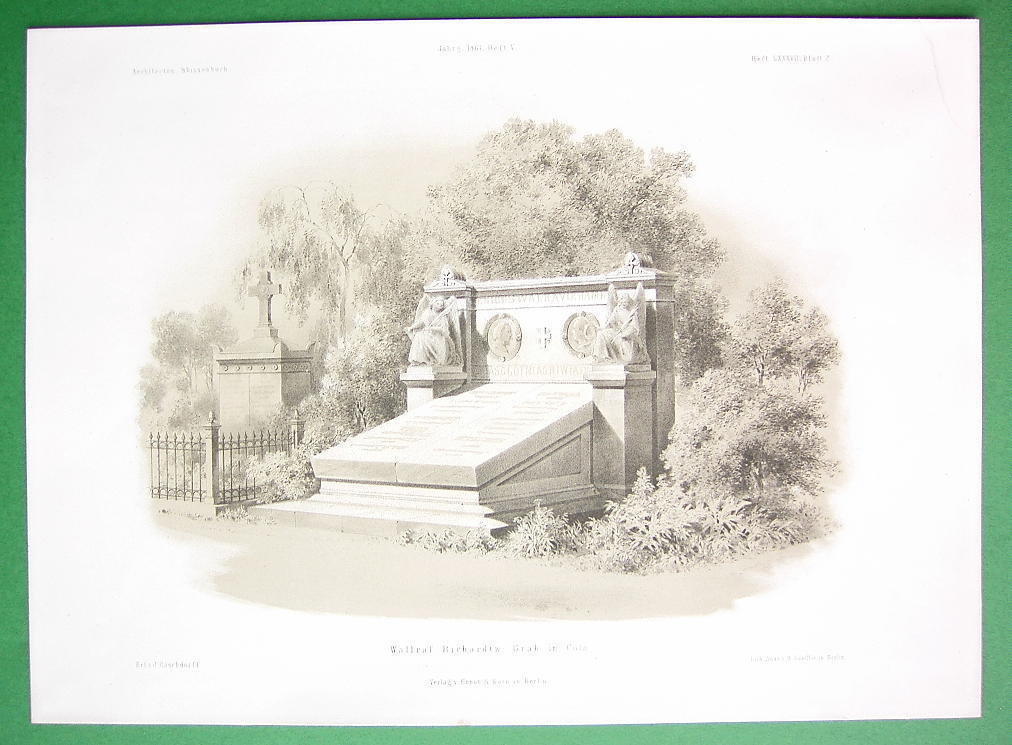 ARCHITECTURE PRINT : Gemany Cologne Tomb of Wallraf & Richartz