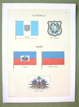FLAGS Guatemala & Haiti Coat of Arms - 1899 Color Litho Print - $11.78