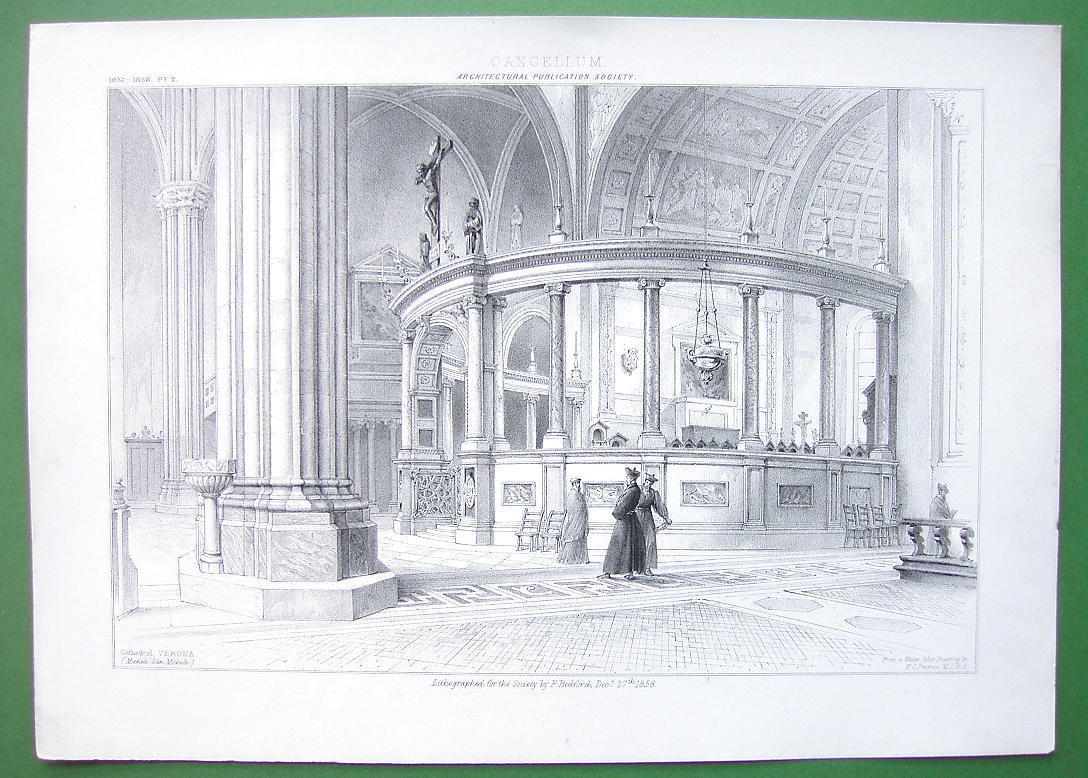 ARCHITECTURE PRINT : ITALY Interior of Cathedral of Verona Cancellum