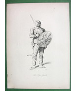 CHINA Tiger Guard Soldier of Chinese Army - 1859 Antique Print Engraving - $23.56