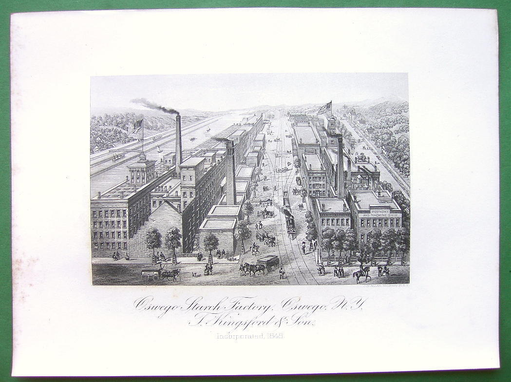 NEW YORK Oswego Starch Factory Inc in 1848 - Antique Print