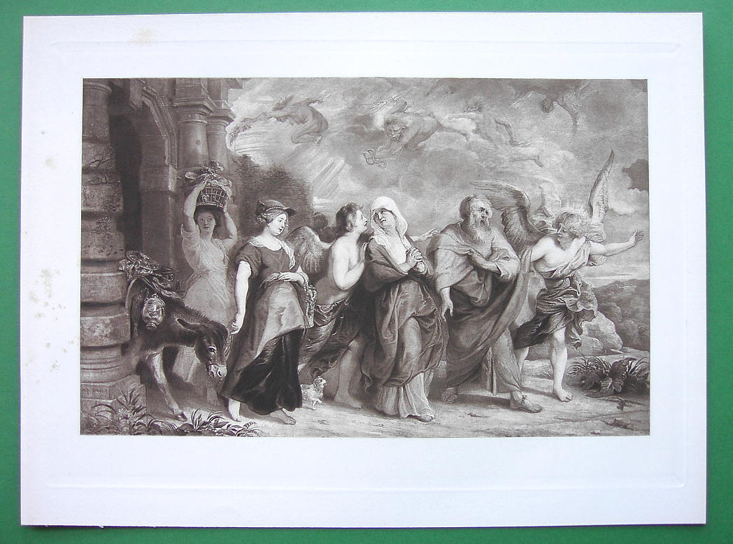 BIBLE Flight of Lot & Family from Sodom - SUPERB Victorian Era Antique Print