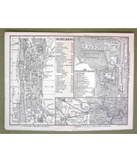GERMANY Heidelberg Twon & Castle - 1880 MAP ORI... - $8.41