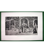 GAME OF BOWLS High Society Ladies Garden Court - VICTORIAN Antique Print - $13.46