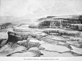 YELLOWSTONE Mammoth Terraces - Antique Print Engraving - $5.46