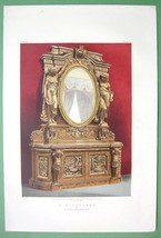 OAK SIDEBOARD Carved Design Nude Nymphs Mirror - 1862 VICTORIAN Color Print - $23.56