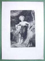 ORIGINAL ETCHING - Sacrifice Greek Children at Altar in Lystra Greece - $23.56