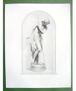NUDE Sculpture of Narcissus Hunting Spear in Ha... - $25.21