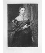 ORIGINAL ETCHING 1883 Print - LADY BRONZINO Wif... - $16.82