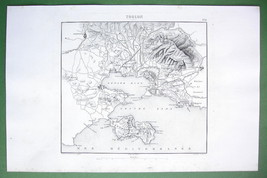 1846 ANTIQUE ORIGINAL MAP - FRANCE Port of Toul... - $23.56
