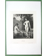 NUDE Girls Play Flute Pastoral Idyl - 1882 Vict... - $17.42