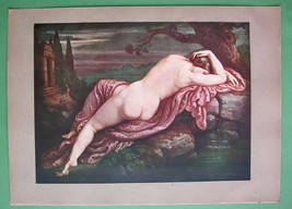 NUDE Biblis Changed to Fountain Love Story - COLOR Antique Print - $16.41
