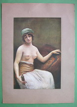 NUDE Young Maiden Holding a Statue of Venus - C... - $23.56
