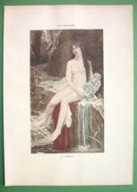 NUDE Nymph at Water Source Amphora - COLOR Lichtdruck Print - $8.41