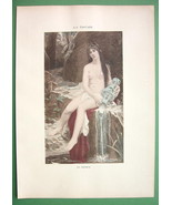 NUDE Nymph at Water Source Amphora - COLOR Lich... - $8.41