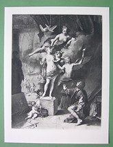 VENUS Playing Galatea & Pygmalion Love Story - Mythology Antique Print - $23.56