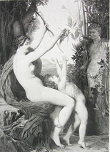 NUDE Mythology Nymph Playing with Young Bacchus - Victorian Era Print - $11.78