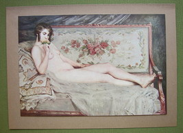 NUDE Girl on Sofa Smelling Rose - COLOR Offset ... - $16.79