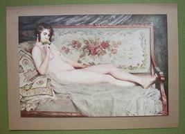 NUDE Girl on Sofa Smelling Rose - COLOR Offset Litho Print - $16.79