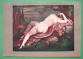 NUDE Biblis at Water Fountain Source - COLOR Antique Print - $20.95