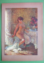 NUDE Young Lady Awoken in Bed First Sun Rays - Victorian COLOR Antique P... - $16.82