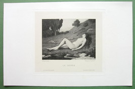 NUDE Young Maiden Repose on Meadow - 1882 Victo... - $17.42