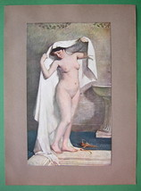 NUDE Woman Towelling After Bath - COLOR Antique... - $8.41