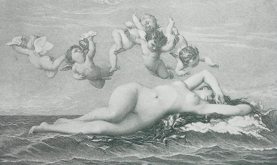 NUDE Birth of Venus Sea Waves Cherubs - 1880s Photogravure Print