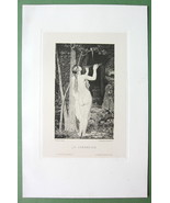 NUDE Enchantress Playing Flute to Bird - 1882 V... - $17.42