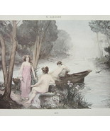 NUDE Girls River Bath Month of May - VICTORIAN H/C Color Print - $15.15