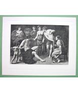 NUDE Hercules & Omphale - SUPERB Antique Print - $15.15