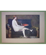 NUDE Young Woman on Black Sofa Holding Fan - COLOR Offset Litho Print - $16.79