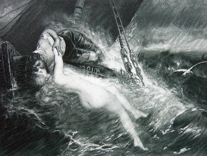 NUDE Kiss of Siren SInking Sea Wreck Sailor - 1880s Photogravure Print