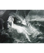 NUDE Kiss of Siren SInking Sea Wreck Sailor - 1880s Photogravure Print