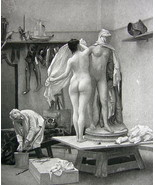 NUDE Artist's Model End of Session by Gerome - 1880s Photogravure Print - $20.20