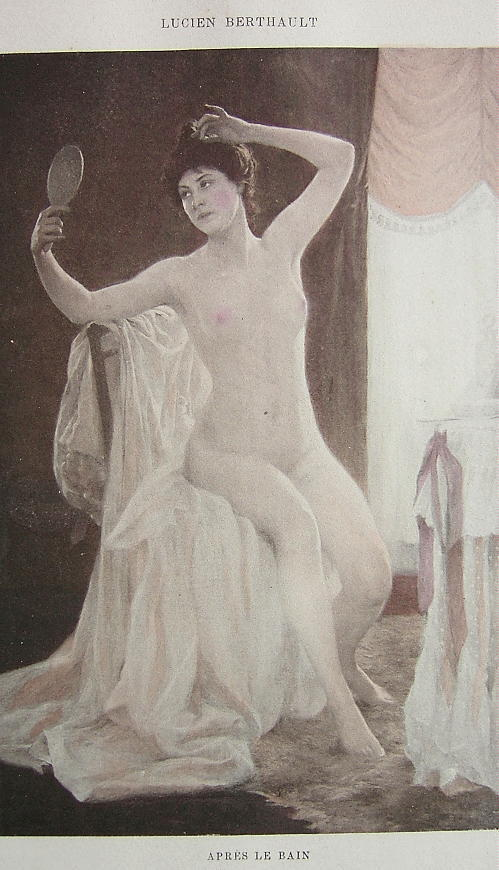 NUDE Young Maiden After Bath Toilette - VICTORIAN H/C Color Print