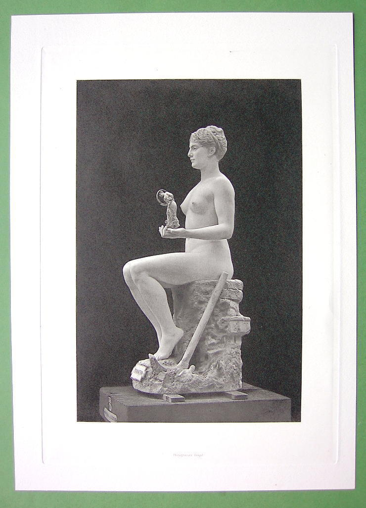 NUDE Statue of Young Girl as Tanagra by Gerome - SUPERB Antique Print