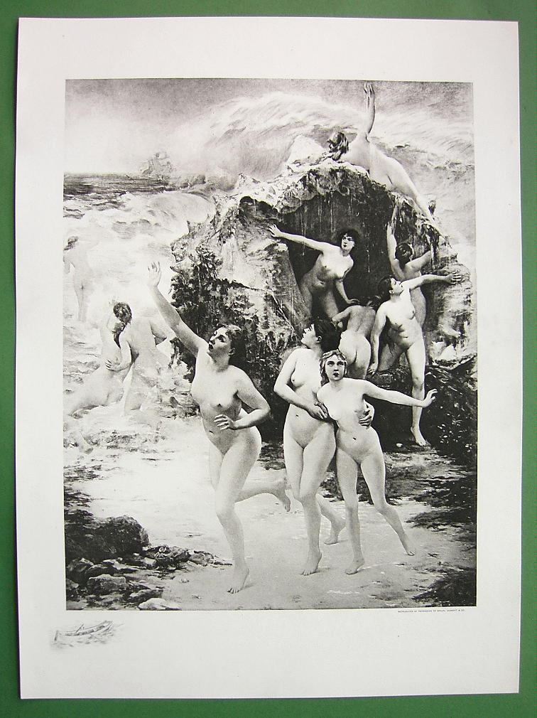 NUDE Greek Nymphs Oceanides !! VICTORIAN Antique Print