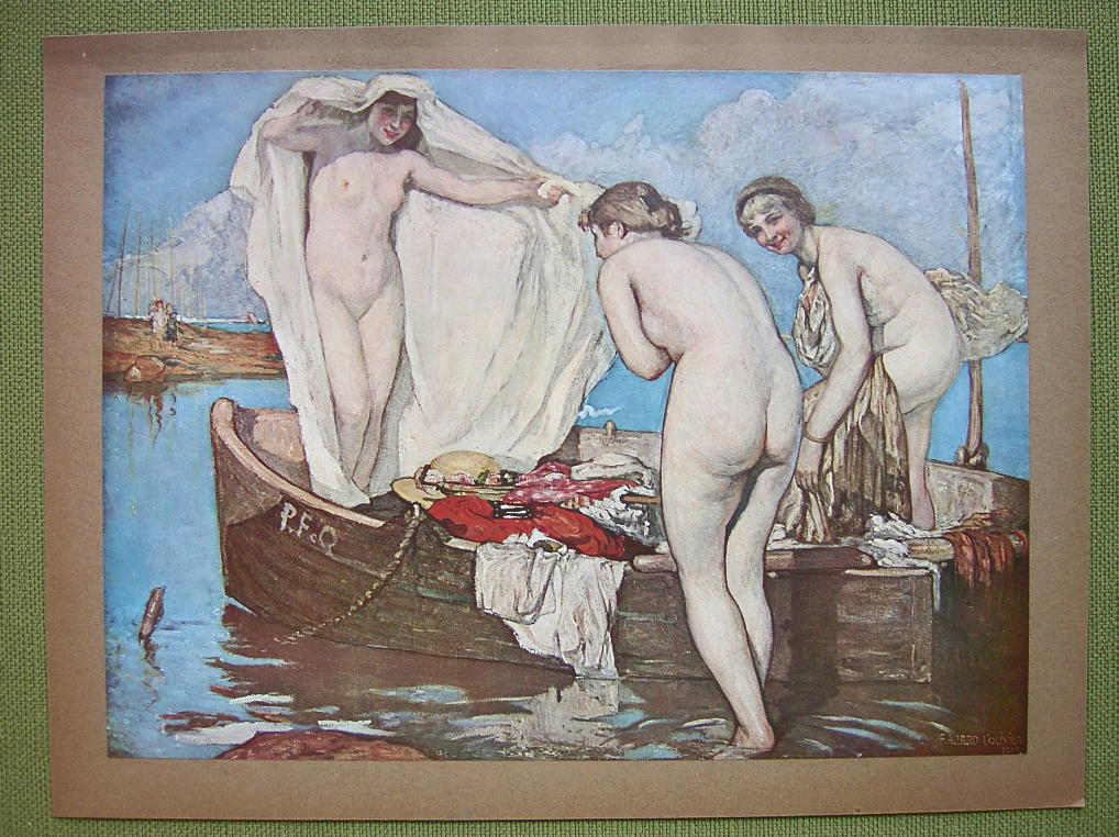 NUDE Girls on Boat Surprised at Bath - COLOR Offset Litho Print