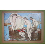 NUDE Girls on Boat Surprised at Bath - COLOR Of... - $16.79