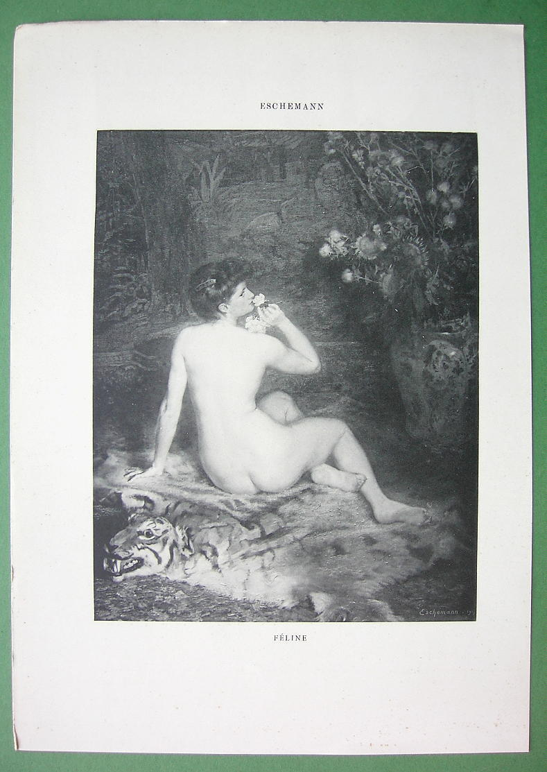 NUDE Cat Woman Smelling Rose Flower - VICTORIAN Lichtdruck Print