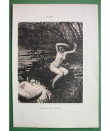 NUDE River Nymph Attacked by Swan - VICTORIAN Lichtdruck Print by AUBLET - $23.56