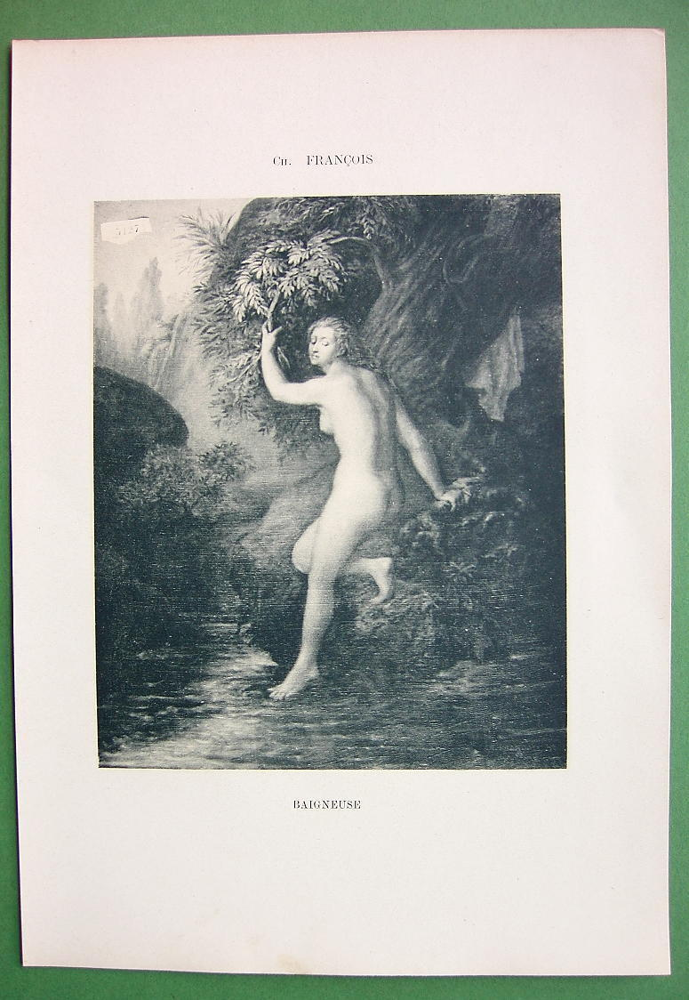 NUDE Girl Bathing Cold Water in River - VICTORIAN Lichtdruck Print