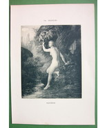 NUDE Girl Bathing Cold Water in River - VICTORI... - $11.78