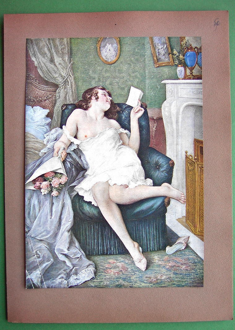 NUDE Girl at Fireplace Got Lover Roses & Letter - Victorian COLOR Antique Print