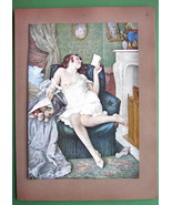 NUDE Girl at Fireplace Got Lover Roses & Letter... - $16.82